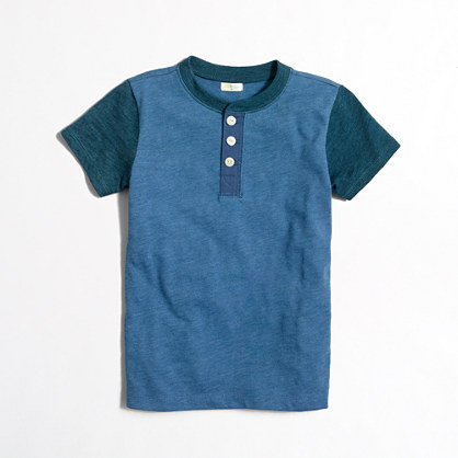Boys' colorblock short-sleeve heathered henley