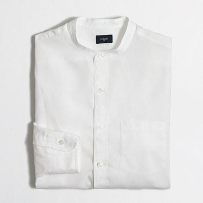Washed band-collar shirt