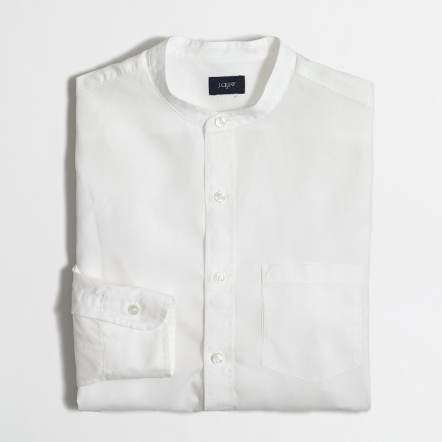 Washed band-collar shirt