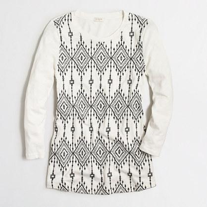 Long-sleeve embroidered-panel shirt