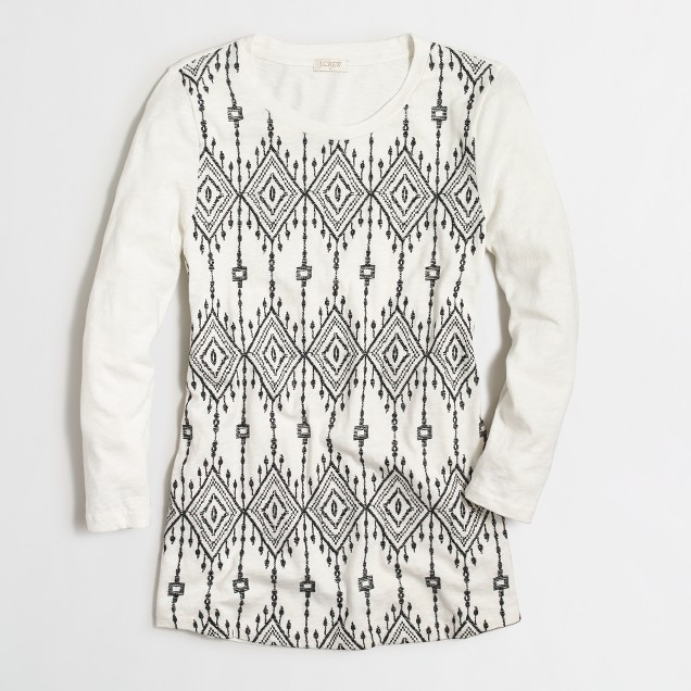 Long-sleeve embroidered-panel shirt