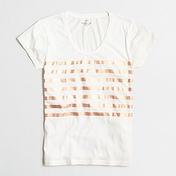Factory metallic-striped collector T-shirt in airy cotton