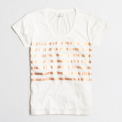 Metallic-striped collector T-shirt in airy cotton