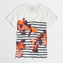 Factory floral striped collector T-shirt in airy cotton