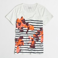 Floral striped collector T-shirt in airy cotton