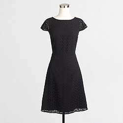 Factory laser-cut cap-sleeve dress