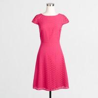 Petite laser-cut cap-sleeve dress