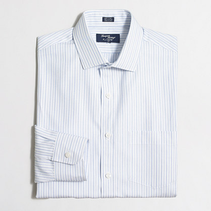 Thompson dress shirt in end-on-end striped cotton