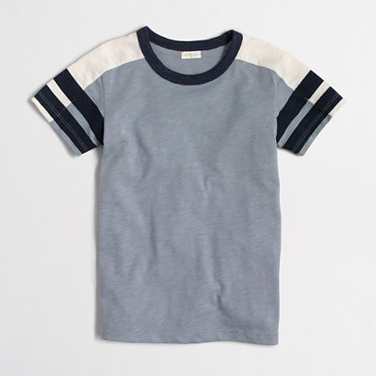Boys' striped-sleeve colorblock T-shirt