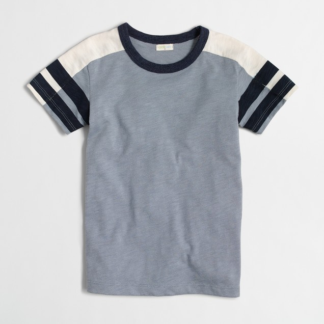 Boys' striped-sleeve colorblock T-shirt