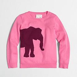 Factory girls' elephant intarsia popover sweater