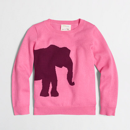 Girls' elephant intarsia popover sweater