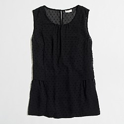 Factory sleeveless clip-dot flounce top