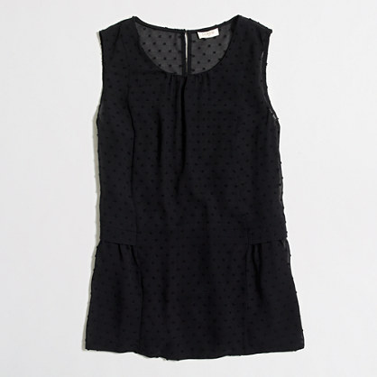 Sleeveless clip-dot flounce top