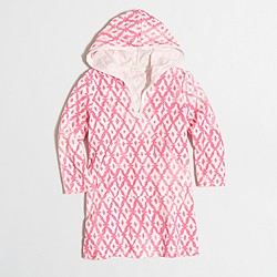 Factory girls' printed terry cover-up with hood