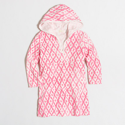 Girls' printed terry cover-up with hood