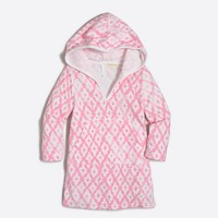 Girls' printed hooded terry cover-up