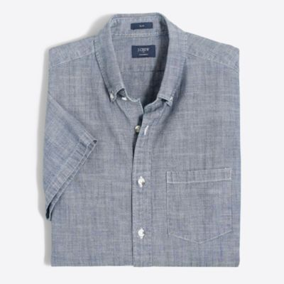 Slim short-sleeve chambray shirt factorymen slim c