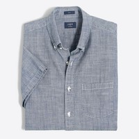 Slim short-sleeve chambray shirt