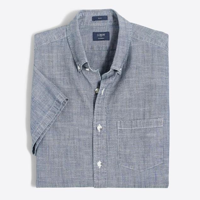 Slim short-sleeve chambray shirt