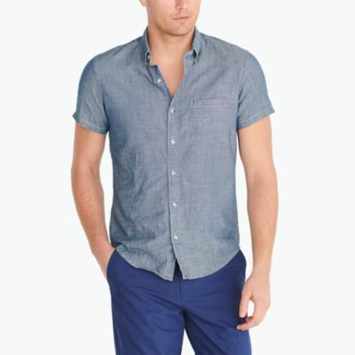 Slim short-sleeve chambray shirt factorymen new arrivals c