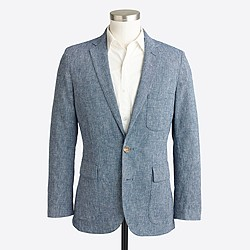 Factory Thompson unconstructed blazer in microgrid linen-cotton