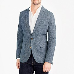 Thompson unconstructed blazer in microgrid linen-cotton