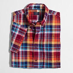 Factory slim short-sleeve cotton-linen shirt