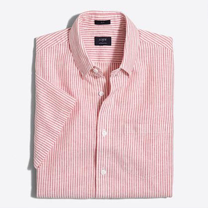 Slim short-sleeve cotton-linen shirt