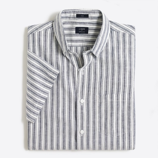 Slim short-sleeve cotton-linen shirt