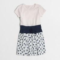 Girls' printed mixed-media dress