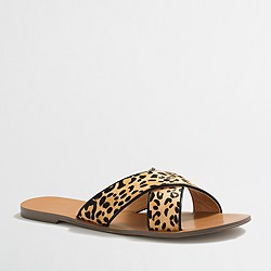 Factory leopard calf hair seaside sandals