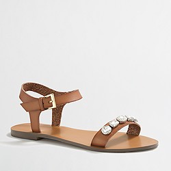 Factory jeweled ankle-strap sandals