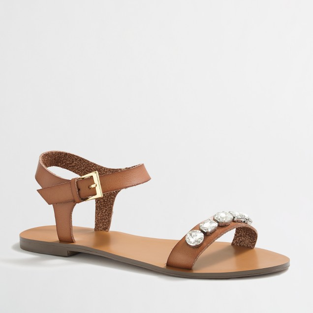 Jeweled ankle-strap sandals