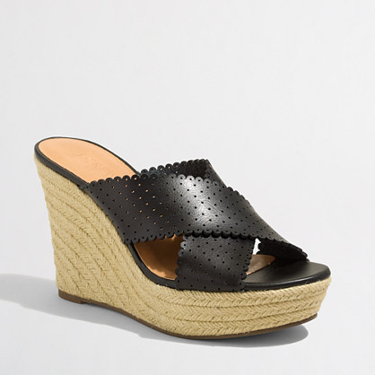 Perforated espadrille wedges