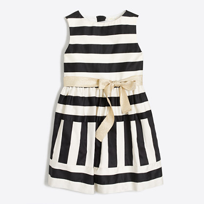 Girls' striped sateen dress