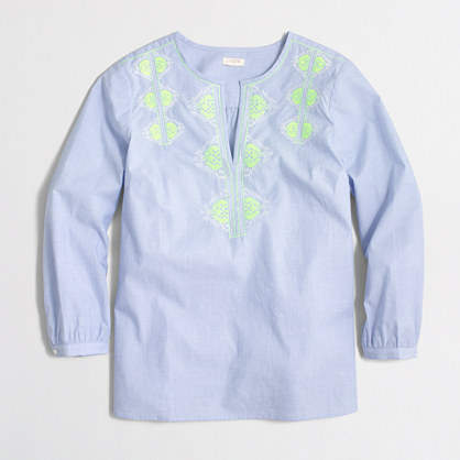 Embroidered blouse in end-on-end cotton