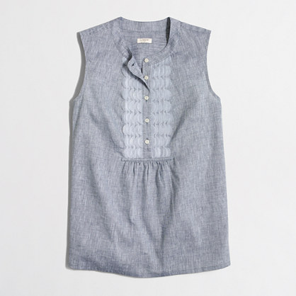 Chambray tank with embellished placket