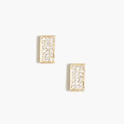 Pavé rectangle stud earrings