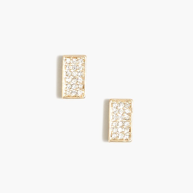 Pavé rectangle stud earrings