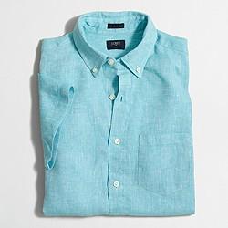 Factory slim short-sleeve linen shirt