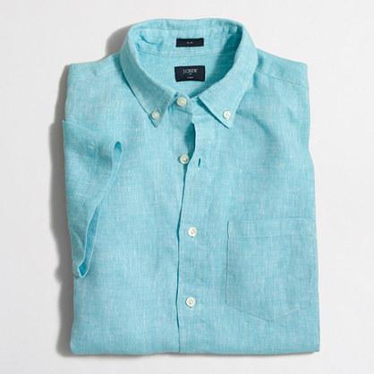 Slim short-sleeve linen shirt