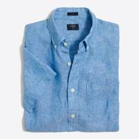 Slim short-sleeve linen shirt