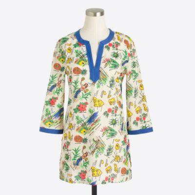 Printed poplin tunic