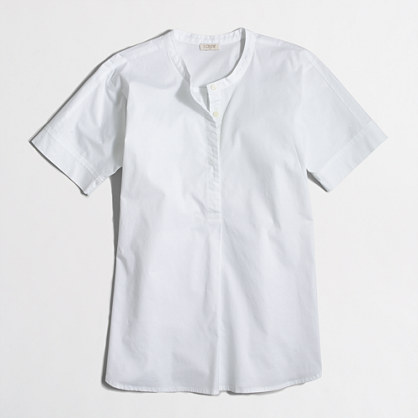 Collarless short-sleeve popover shirt