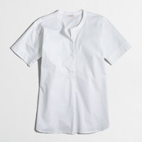 Collarless short-sleeve popover shirt
