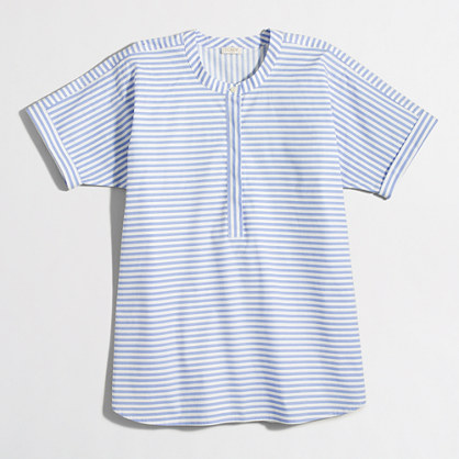 Collarless short-sleeve striped popover shirt