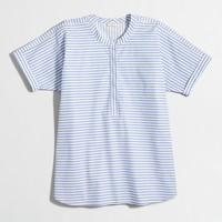 Collarless short-sleeve striped popover shirt