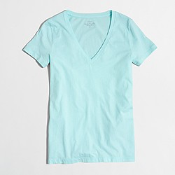 Factory sunwashed garment-dyed V-neck T-shirt