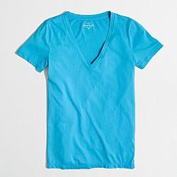 Factory sunwashed garment-dyed V-neck T-shirt